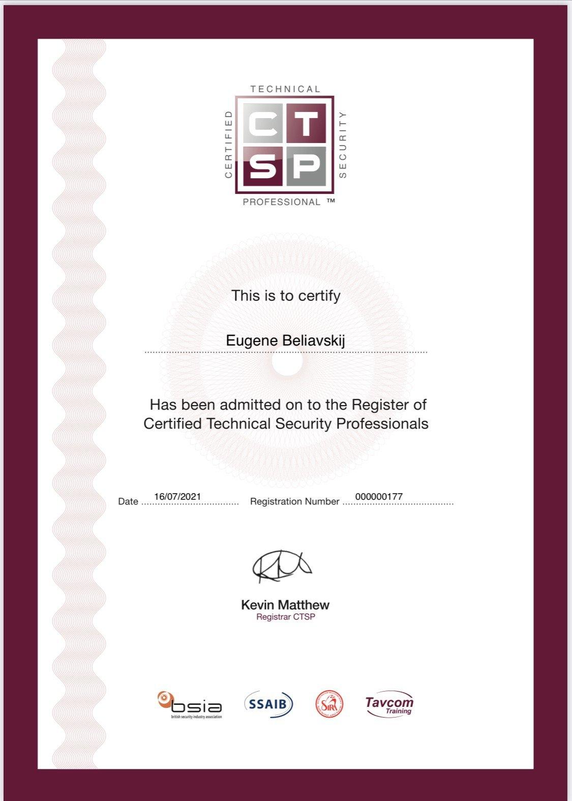 CTSP Certified JBSS UK